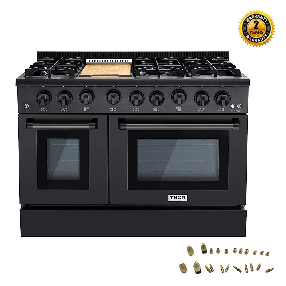 Thor Kitchen 48 inch Freestanding Pro-Style Professional Gas Range with 6.7 Cu. Ft. Oven, 6 Burners 1 Griddle, in Black Stainless Steel - HRG4808-BS + LP Conversion Kit