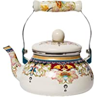 Retro Kettle 2.4L Enamel Light Weight Tea Pots Whistling Kettle with Traditional/Retro Spout for Hob Or Stove Top