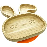 Baby Toddler Bunny Suction Plate, Stay Put Feeding Plate, Natural Bamboo (Orange)