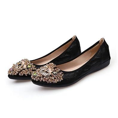 3d2c83d9117e9a Women Ballet Flats Rhinestone Slip On Folding Shoe Pointed Toe Soft Driving Casual  Shoes Black