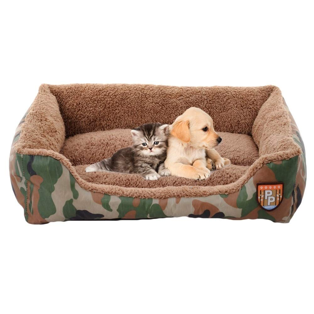 Camouflage Small Camouflage Small ZRL77y Pet Dog House Nest With Mat Cute Plush Cushion Winter Warm Small Medium Dogs Pet Removable Mattress Cat Bed Dog Puppy Kennel (color   Camouflage, Size   S)