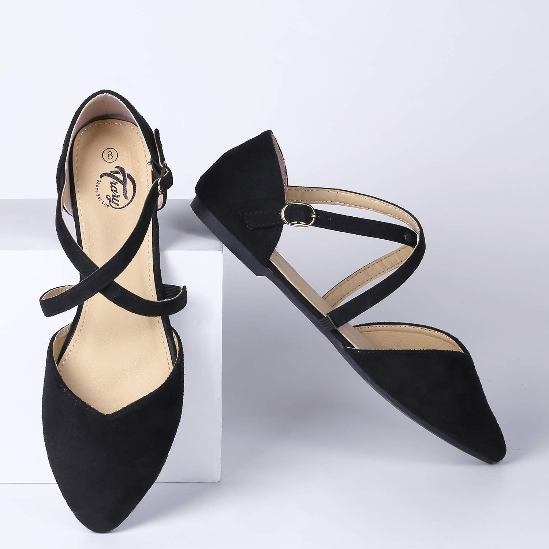 Trary Women/'s DOrsay Criss Cross Strap Ballet Flat Shoes