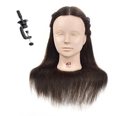 """18""""maniquí de la cabeza 80% pelo humano peluquería formación cabeza muñeca maniquí cosmetología cabeza (abrazadera de mesa soporte incluido)"""