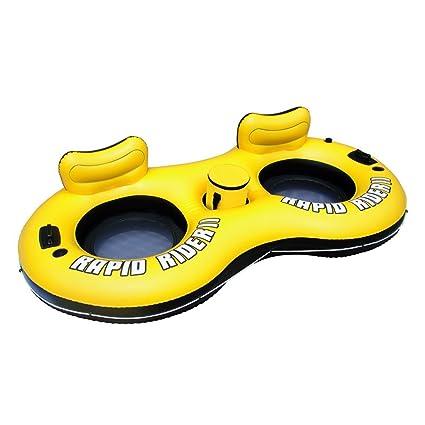 Festnight Flotador Inflable para 2 Persona Rapid Rider Modelo 43113 Color Amarillo y Negro