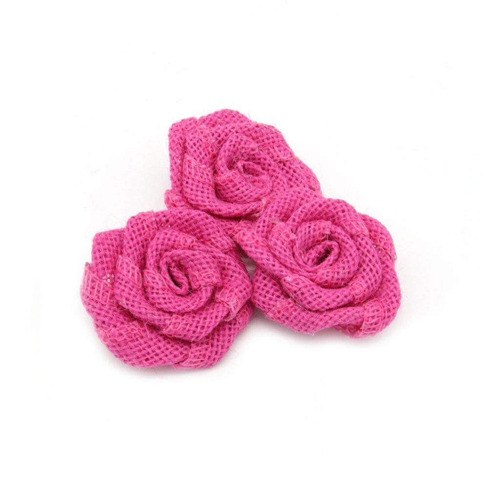 PIXNOR 6pcs iuta Rose Fiori Artificiali per la decorazione di natale nozze (rosa rossa)