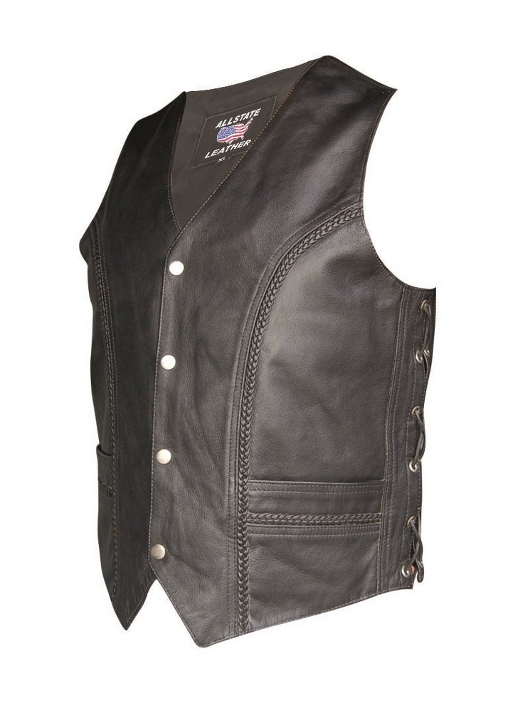 Men's Black Braided Leather Pirate Vest