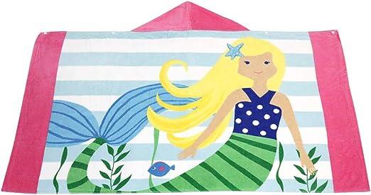 Kids Bathrobe Girls Hooded Bath Blanket Children Beach Towel 3-8 Years
