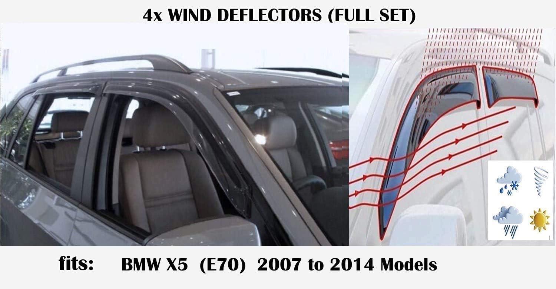 OEMM 4er-Set Windabweiser kompatibel mit BMW X5 X5M E70 5-T/ürer Crossover SUV 2007 2008 2009 2010 2011 2012 2013 2014 Acrylglas Seitenblenden Fensterabweiser