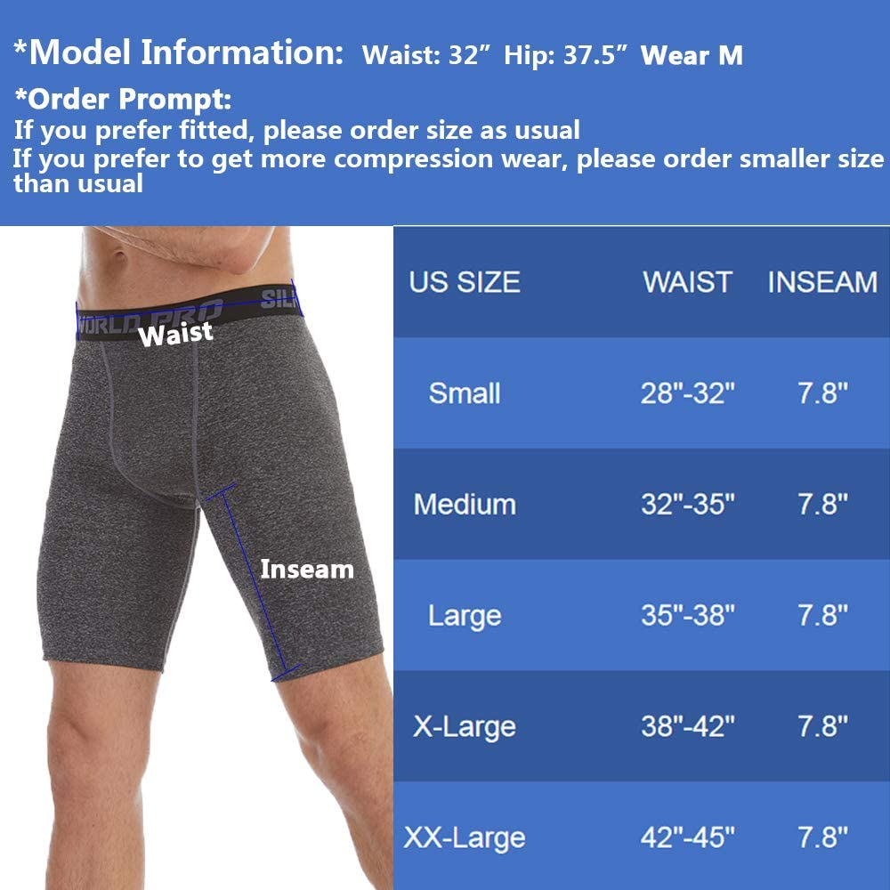 SILKWORLD Mens Compression Running Shorts Cool Dry Active Sports Tights