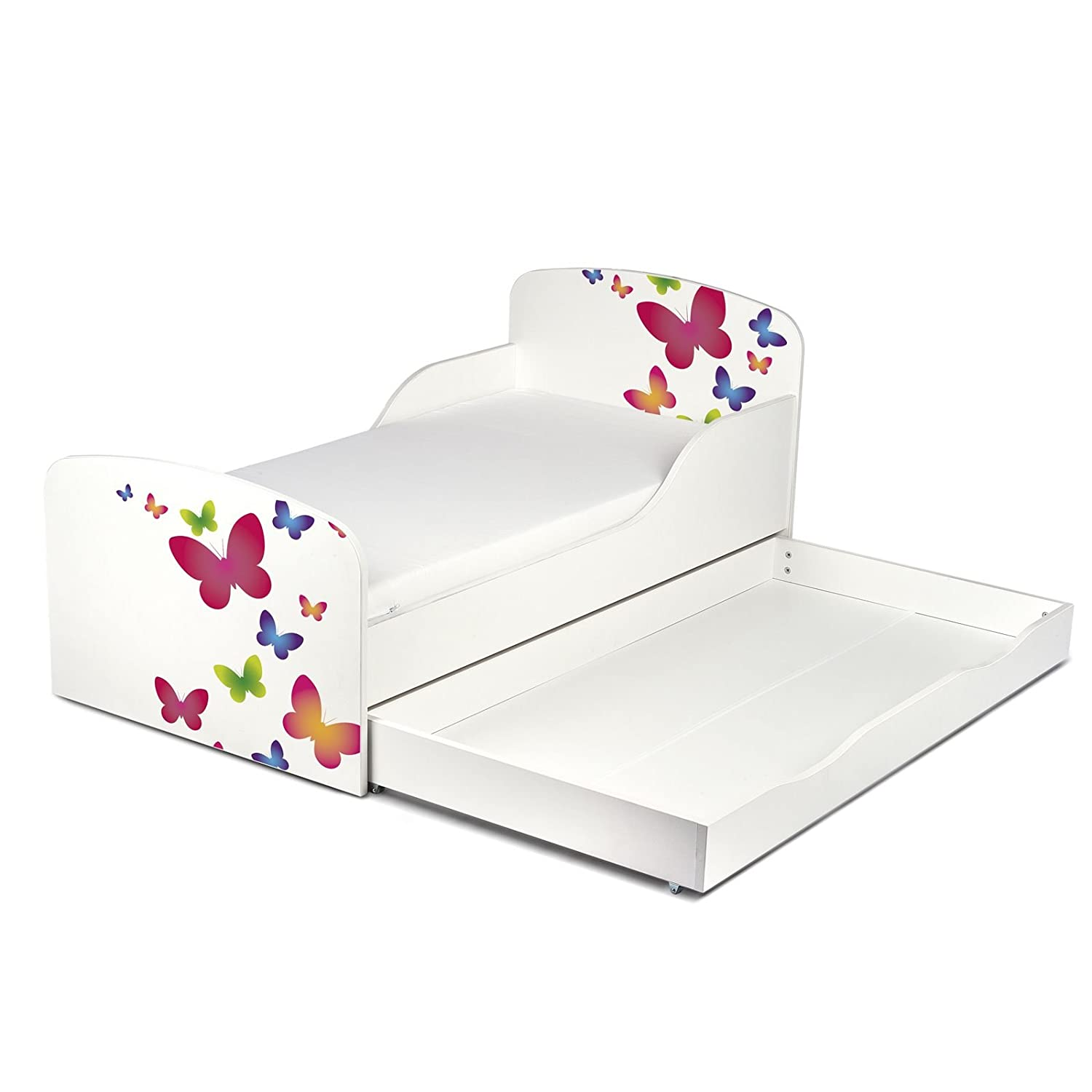 Price Right Home Butterflies Design MDF Toddler Bed with storage
