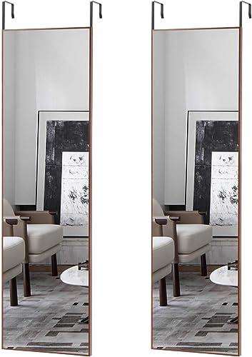 Elevens Aluminum Frame Door Mirror 48 x14 Full Length Mirror, Thin Frame, Hanging The Door or Wall, Adjustable Height Hooks On The Door Reddish Brown – 2 Packs
