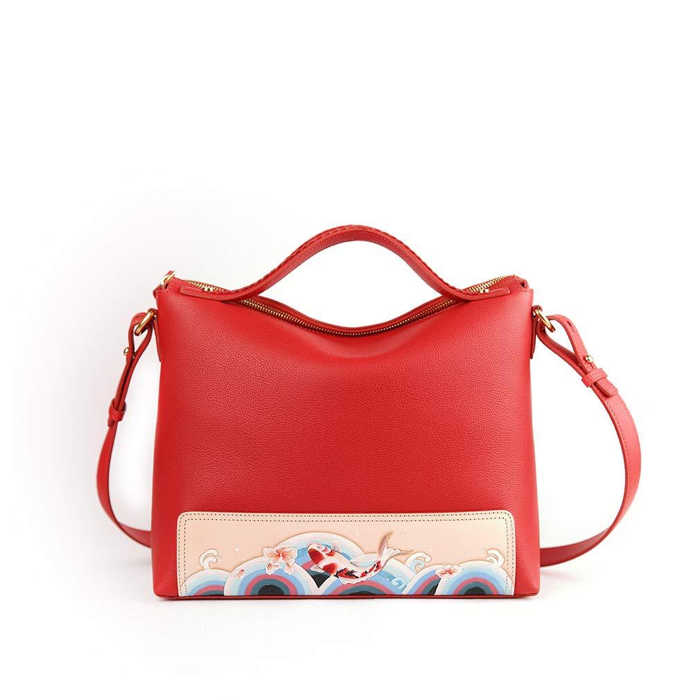 Red Palace Museum Women Leather Handbags Satchel Luxurious Top Handle Shoulder Crossbody Bags