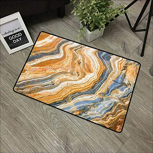 Bathroom Entry Rugs Marble,Colorful Rock Quartz Surface Background Formation Abstract Picture,Slate Blue Orange Apricot,for Indoor/Outdoor/Front Door/Shower Bathroom 24