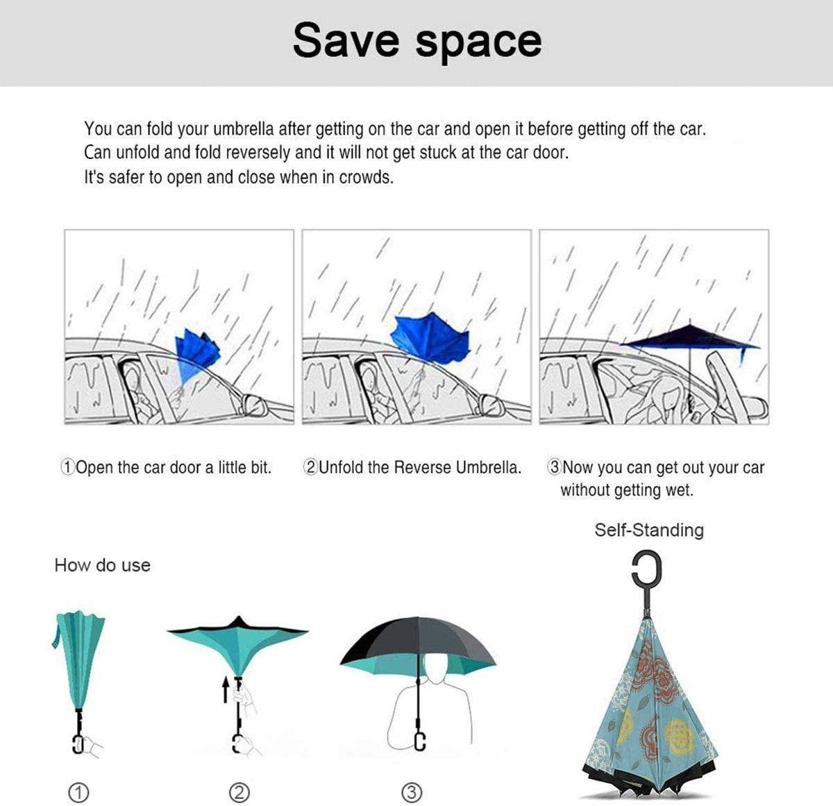 Self Stand Upside Down with C-Shaped Handle PYFXSALA Flower Art Windproof Inverted Umbrella Double Layer UV Protection Folding Reverse Umbrella for Car Rain Outdoor