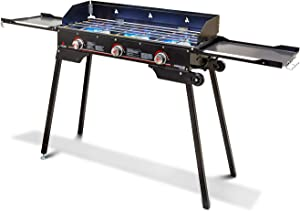 Outland Portable Camping Stove - 3 Zone Propane Gas Burner Controller with Auto Ignition - 2 Folding Cook Stations - Adjustable Leg - Traveling Camp Stove Great for Backyard