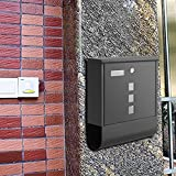 Anfan Drop Box Mailbox Wall Mounted Mailbox Lockable with Retrieval Door & Newspaper Roll Stainless Steel (Black-1)