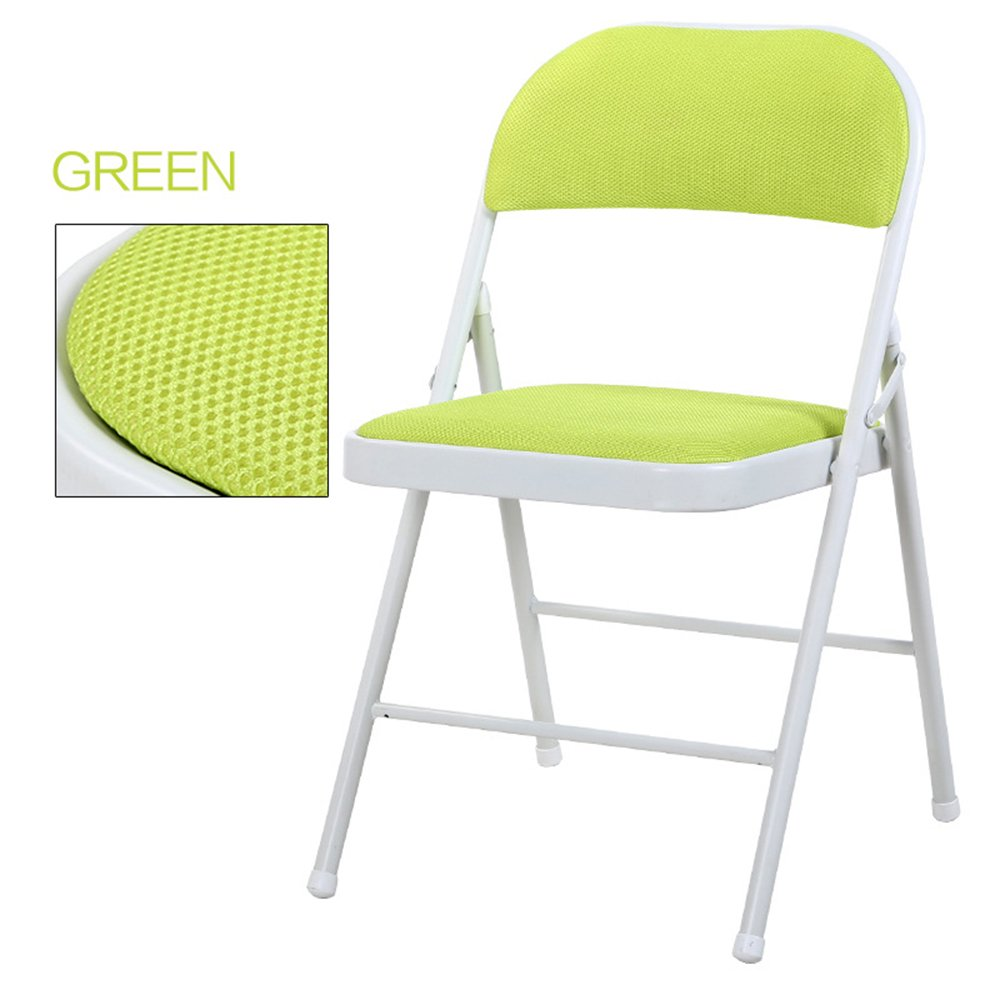 Breathable dining chair / backrest computer chair / casual simple folding chair / dormitory chair / conference chair / portable folding chair / home dinette / five colors optional / ( Color : Green )