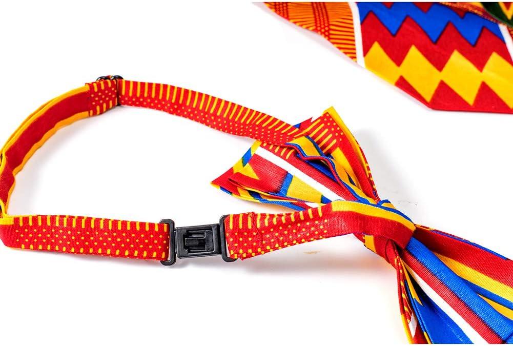 African Print Necktie Bow Tie /& Hankie Set for Men Kente Bow Tie /& Pocket Square Set for Men 100/% Cotton Mens 01 Kente Self Tie Bow Tie