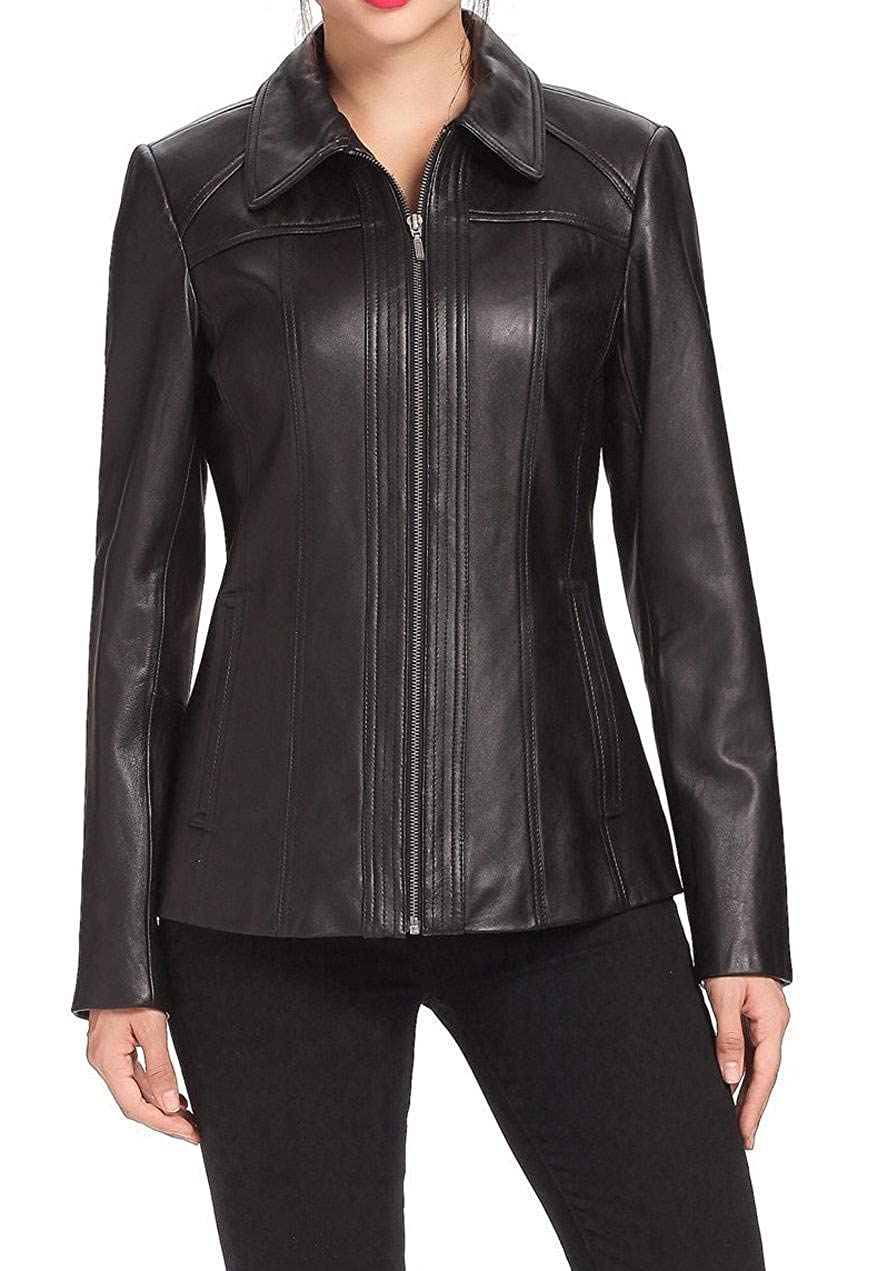 Black Women's Stylish Lambskin Genuine Leather Jacket WJ99