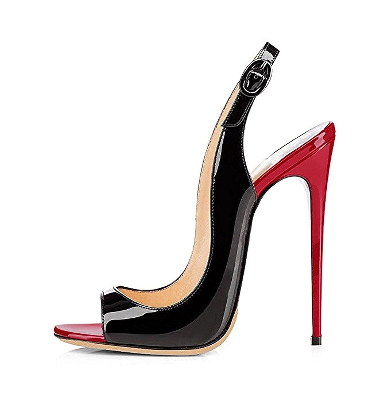 EDEFS Femmes 120mm Artisan Fashion Sandales Sandales Décolletés RedBlack Bout Ouverts Chaussures à Talon Haut de 120mm Noir RedBlack c6a26b4 - conorscully.space