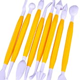 Dimart Cake Suger Paste Fondant Sculpture Pen Knife Decorating Tool Set of 8 - Yellow