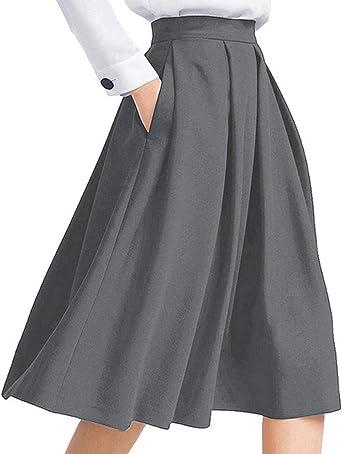Auxo Falda de Cintura Alta de Mujer Vintage Plisado una línea de ...