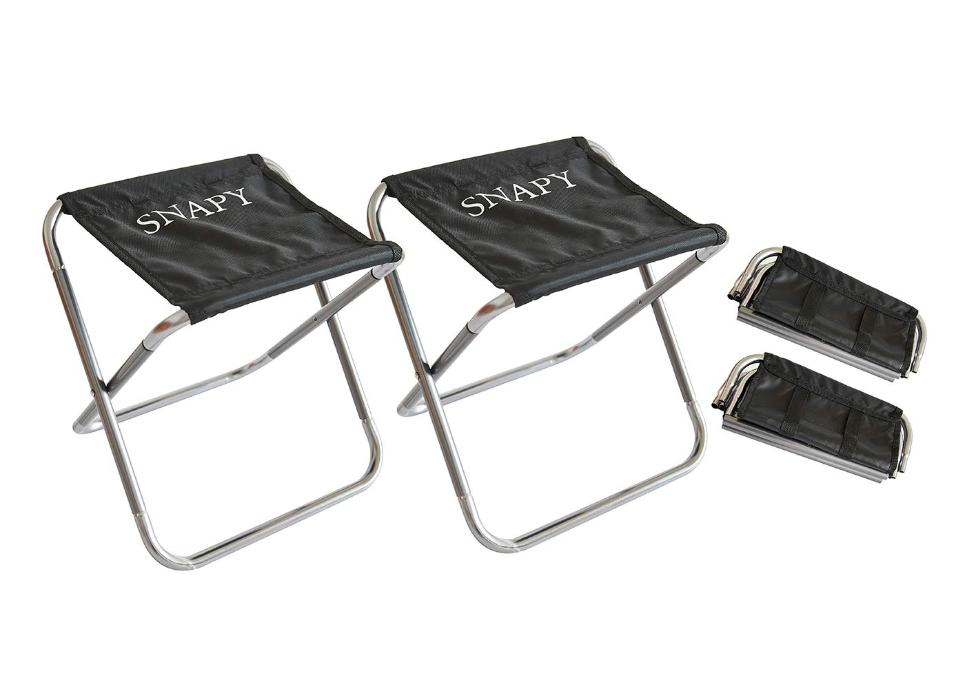 SNAPY 2-Pack Mini Folding Camping Stool, Lightweight Camp Stool, Portable Folding Camp Chair, Outdoor Ultralight Camping Chair for BBQ, Camping, Fishing, Travel, Hiking (12''x11''x12.3'', Silver Grey)