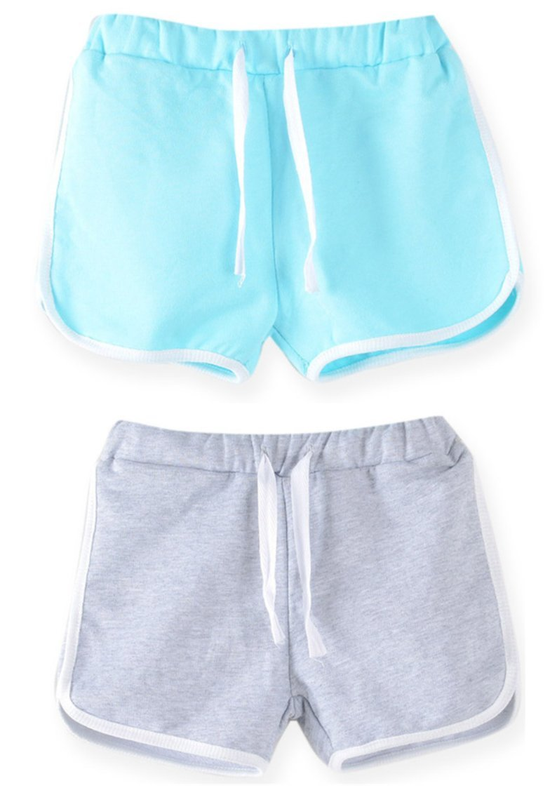 Syleia Girl Shorts Pack of 2 (Grey and Baby Blue) (Large, Grey & Baby Blue)