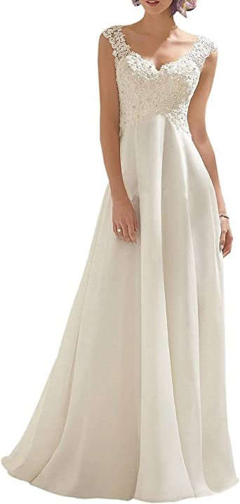 VKStar/® Robe Sir/ène Mariage Femme sans Manche Robe de Mari/ée Dentelle Longue Col V avec Tra/îne