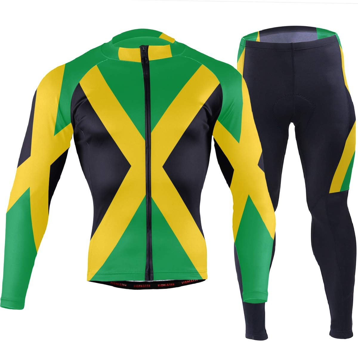 CHINEIN Men's Cycling Jersey Long Sleeve with 3 Rear Pockets Suit Jamaica Flag by CHINEIN