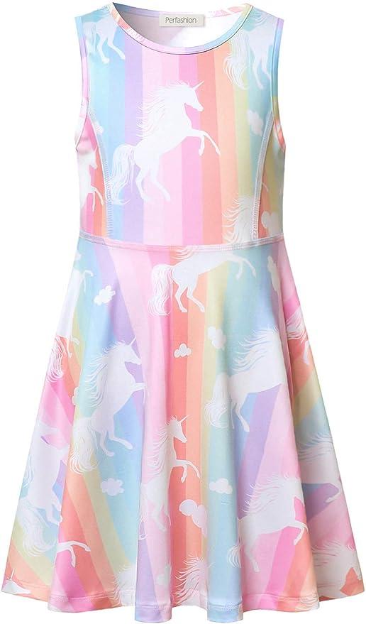Amazon.com: Vestido de unicornio arco iris para niñas, sin ...