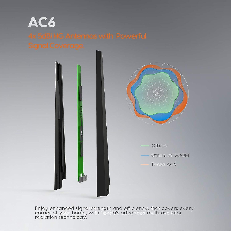 Tenda AC6 Router inalámbrico inteligente de Doble Banda (AC1200, 4 puertos Megabit, WiFi Inteligente, Ahorro de Energía, 4x 5dBi HG Antenas