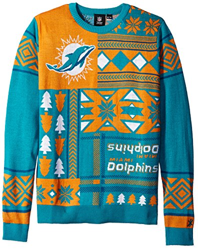 NFL Miami Dolphins Patches Ugly Sweater, Green, Large