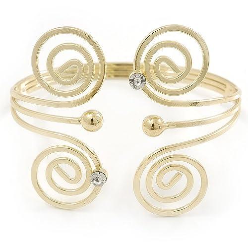Stile greco a spirale, dorato, per braccio,Bracciale placcato oro,  L,Adjustable 27 cm Amazon.it Gioielli