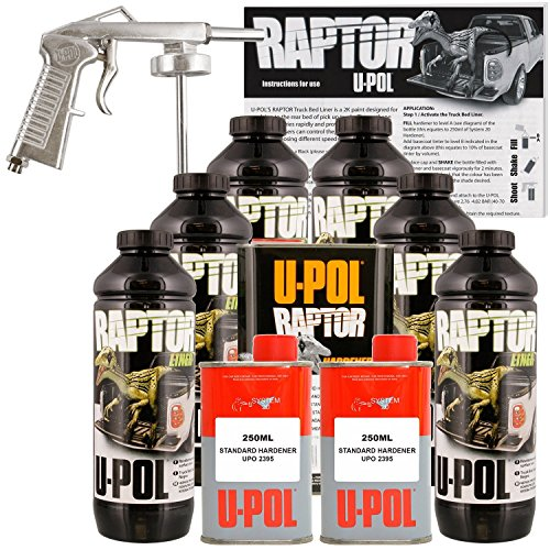 (U-POL Raptor Tintable Urethane Spray-On Truck Bed Liner Kit w/ FREE Spray Gun, 6 Liters)