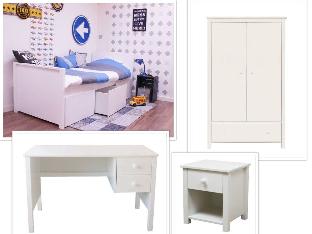 Kinderzimmer Jamie (4-tlg) mit Bett Jamie, 3 Boxen und 2-türiger Kleiderschrank