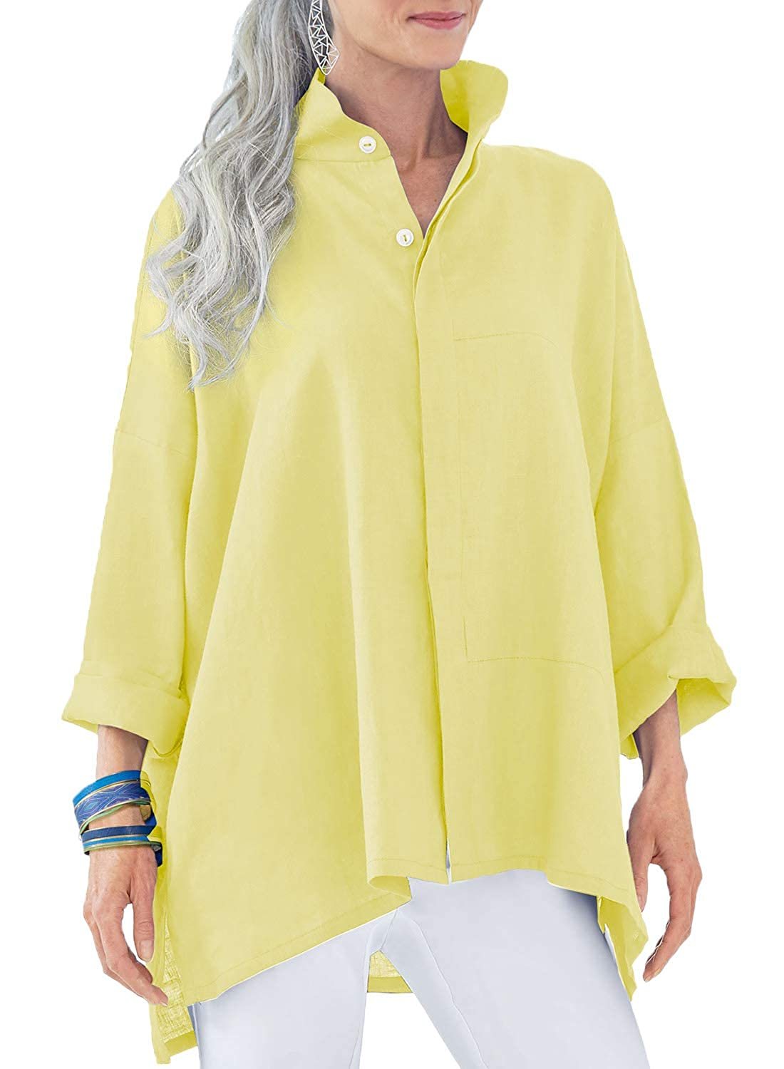 3adb8ecffab Front button down, high low hem design. Can wear short sleeve top or tank  top under it. Perfect to pair with jeans, leggings in ...