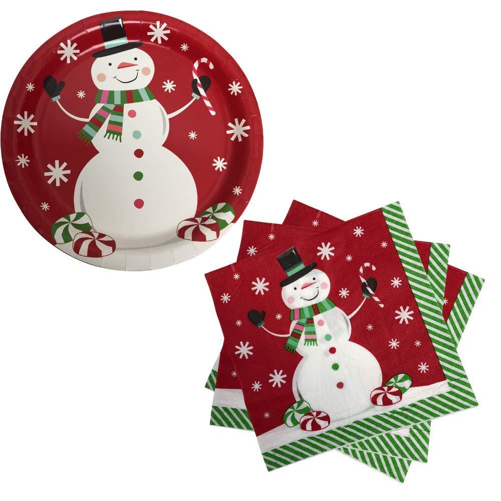 ホリデー クリスマス 雪だるま パーティー用品 18人分 大型ペーパープレート18枚 パーティーナプキン20枚入り レッド B07KTCJJPN 2018 Red
