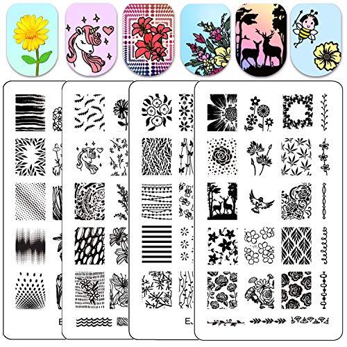 Ejiubas Nail Stamping Plates Nail Stamping Kits Double Sided Nail Stamp Image Plates for Nail Art Design EJB-X09&X13
