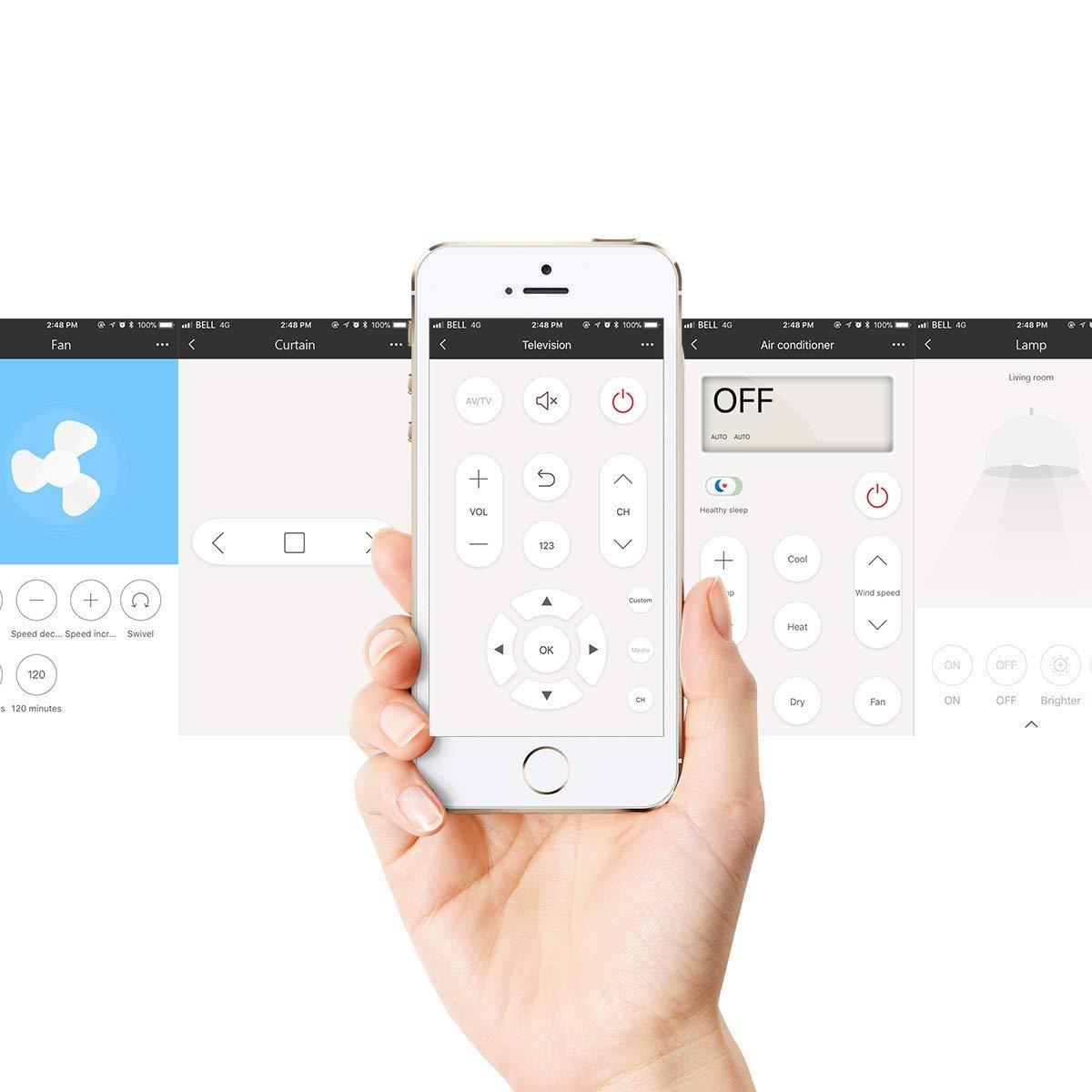 Snowsound Broadlink RM Pro + WiFi Casa inteligente IR RF Aprendizaje inteligente Control remoto universal Compatible con IOS/Android Smartphones (Negro, ...
