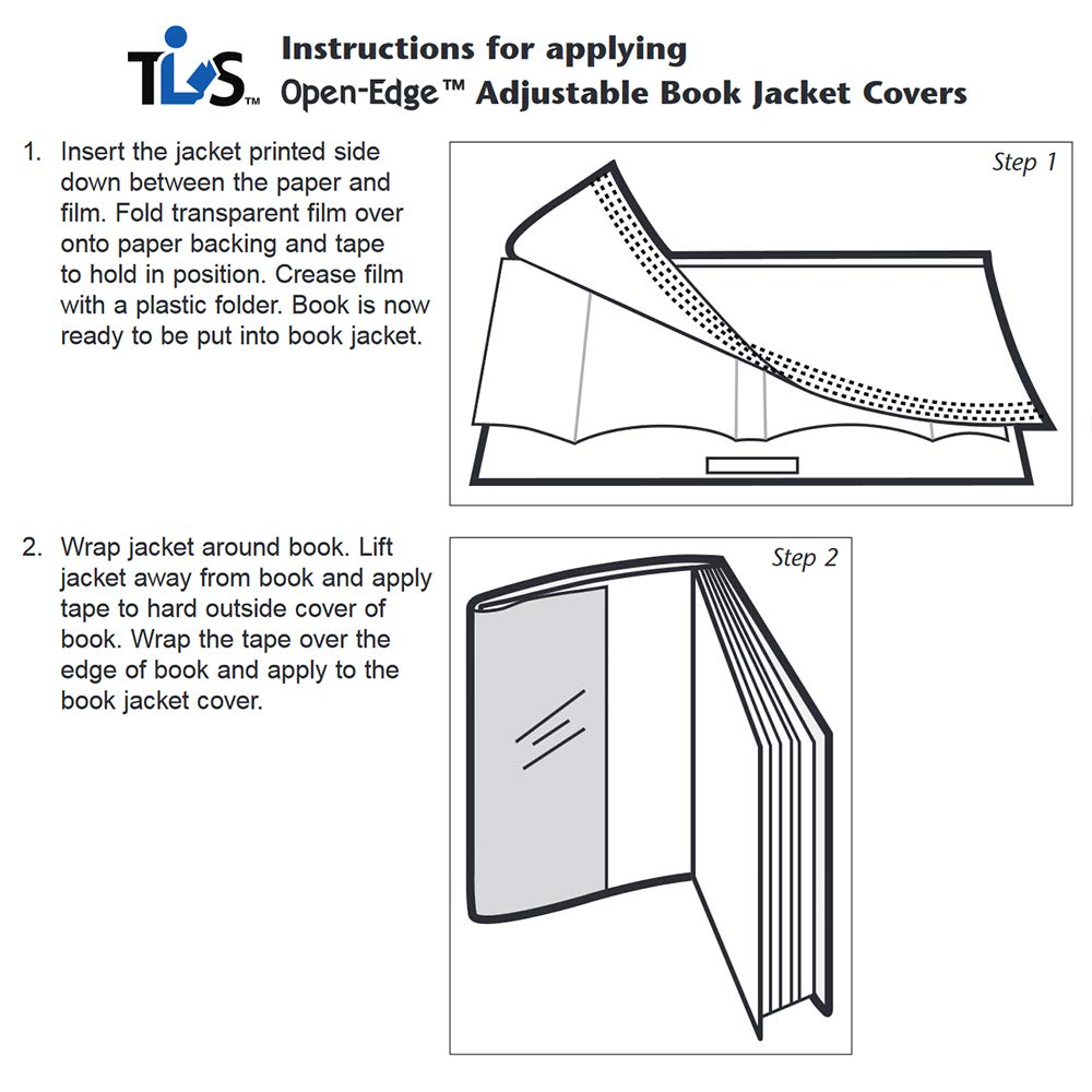 The Library Store Open Edge Adjustable Book Jacket Covers Assortment Pack 2 mil Sheets with Tab 100/Box by The Library Store (Image #3)