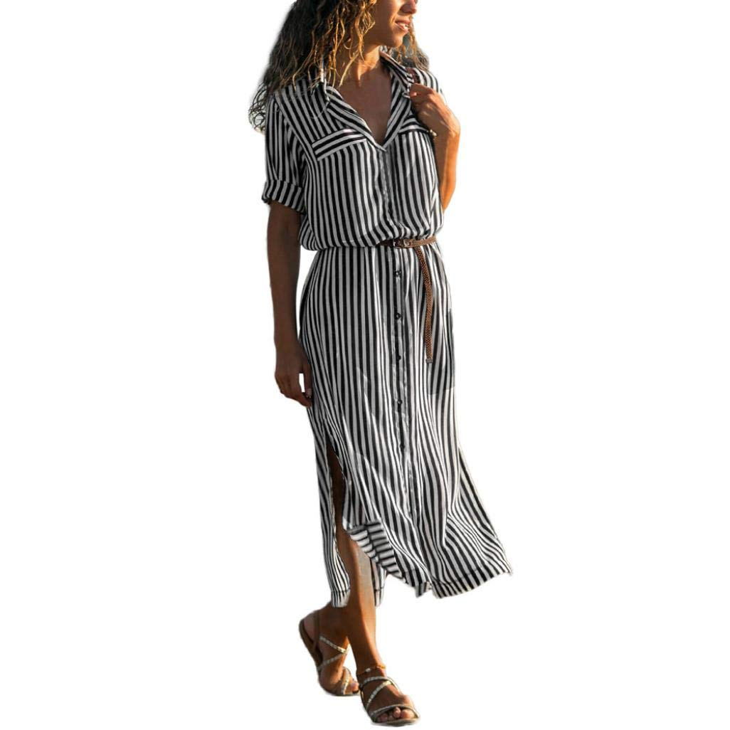 Spbamboo Women Stripe Printed Long Sleeve Button Bandage Belt Chemise Long Dress