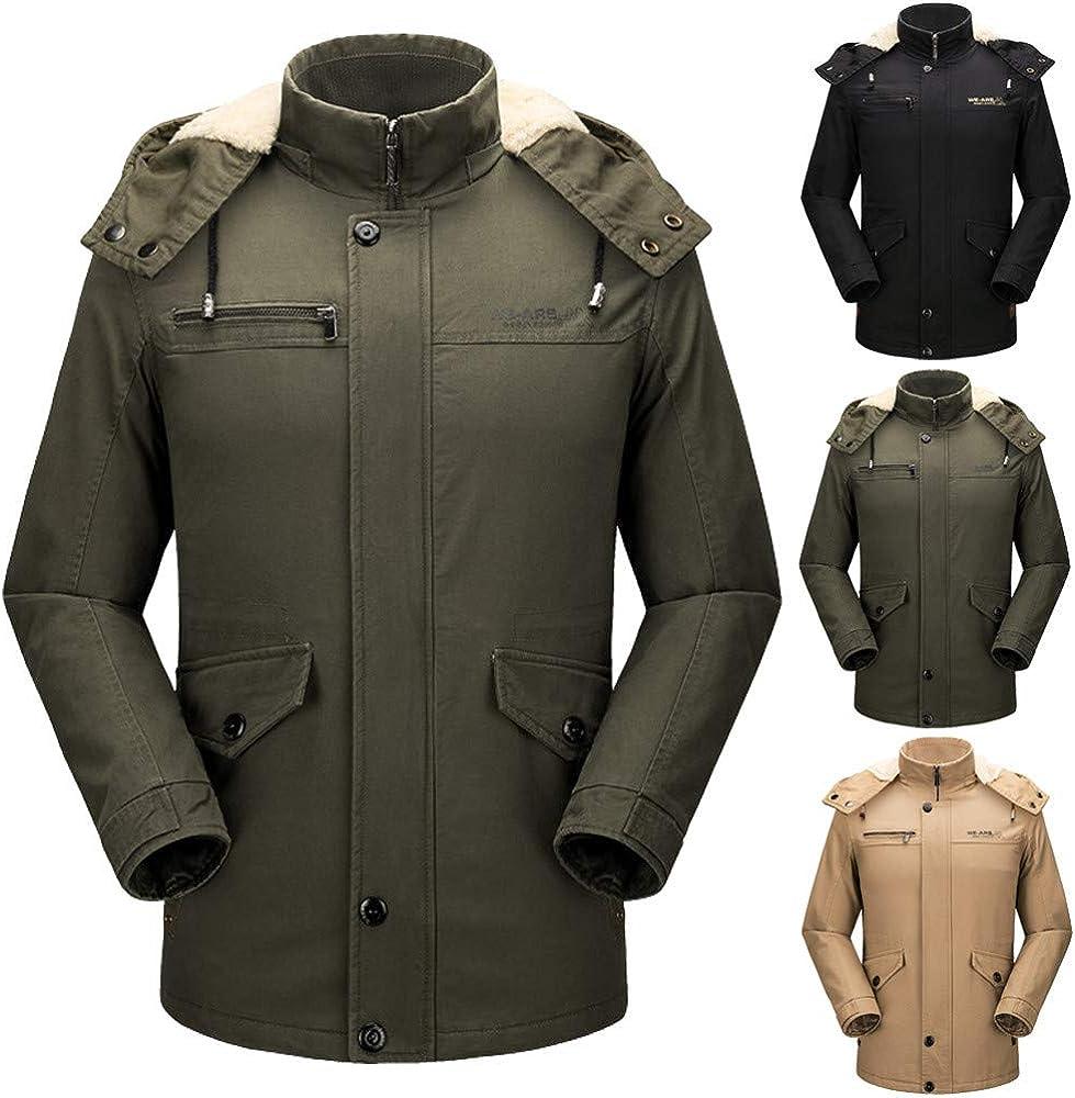 YKARITIANNA Mens Jackets /& Coats 2019 Spring New Fleece Autumn Winter Solid with Pocket Zipper Hooded Jacket Top Coat