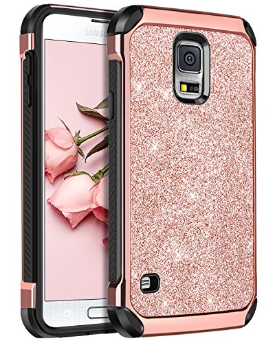 BENTOBEN Galaxy S5 Case, Glitter Bling Luxury 2 in 1 Hybrid Super Slim Hard Laminated with Sparkly Shiny Faux Leather Chrome Shockproof Protective Case for Samsung Galaxy S5 (i9600), Rose Gold