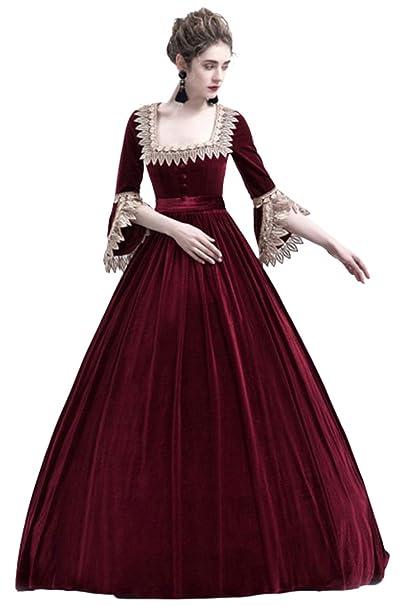 Vestido Largo Vintage Medieval Mujer Color Solido Traje de Princesa de Manga Media de Cuello Cuadrado Renacimiento Verde/Rojo: Amazon.es: Ropa y accesorios