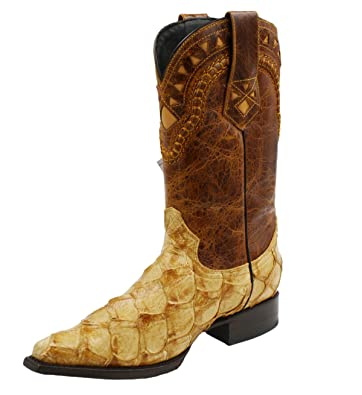 Men's Snip Toe Genuine Fish Skin Leather Cowboy Western Boots