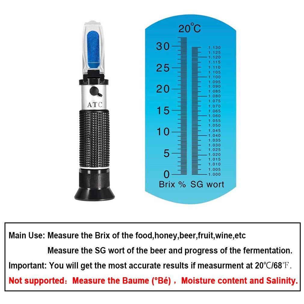 iTavah Brix Refractometer Dual Scale Automatic Temperature Compensation  0~32% brix Sugar Content Specific Gravity Refractometer with ATC