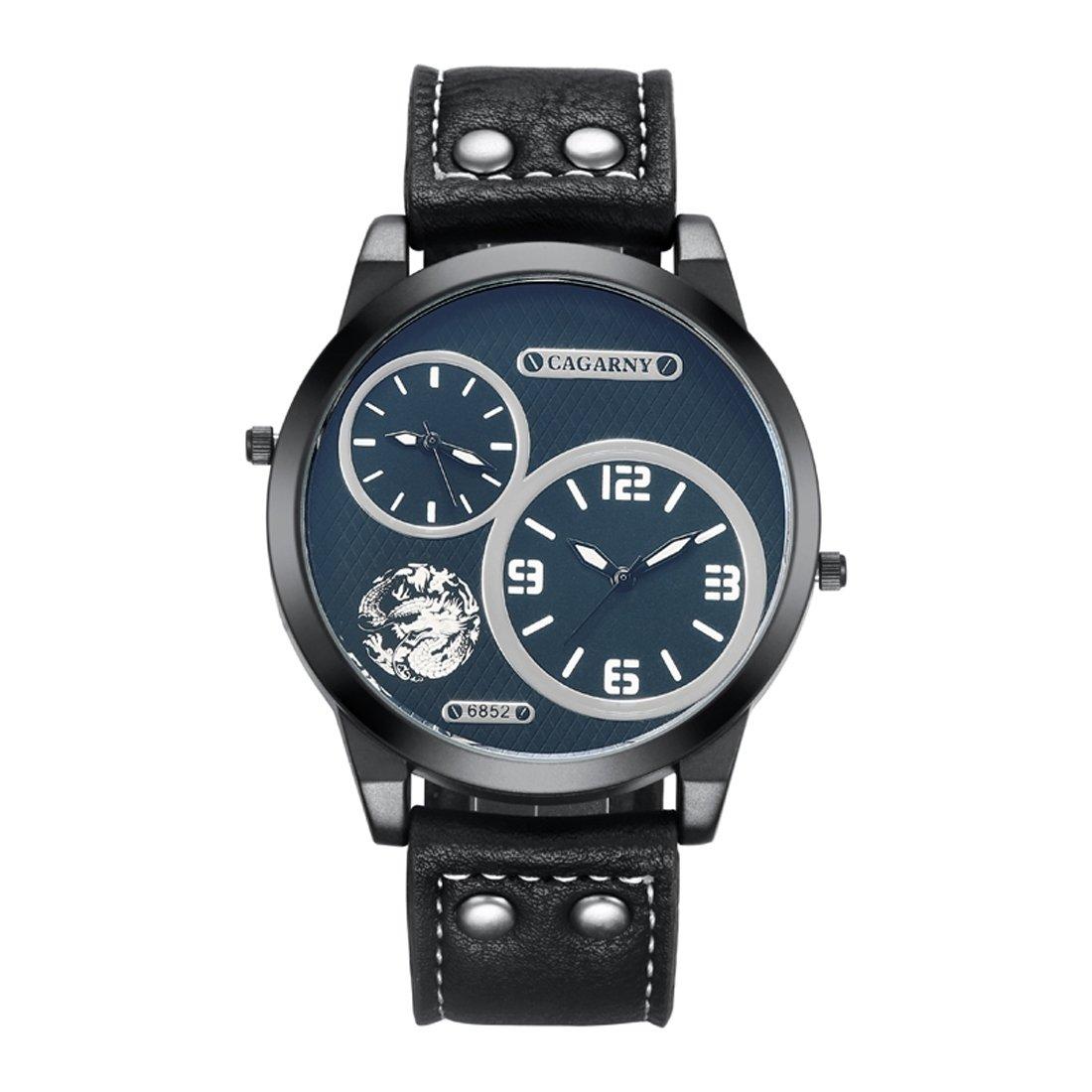 Yaojiaju ファッション防水デュアルクォーツムーブメント腕時計レザーバンド B079GQ539K Wa1025w Wa1025w