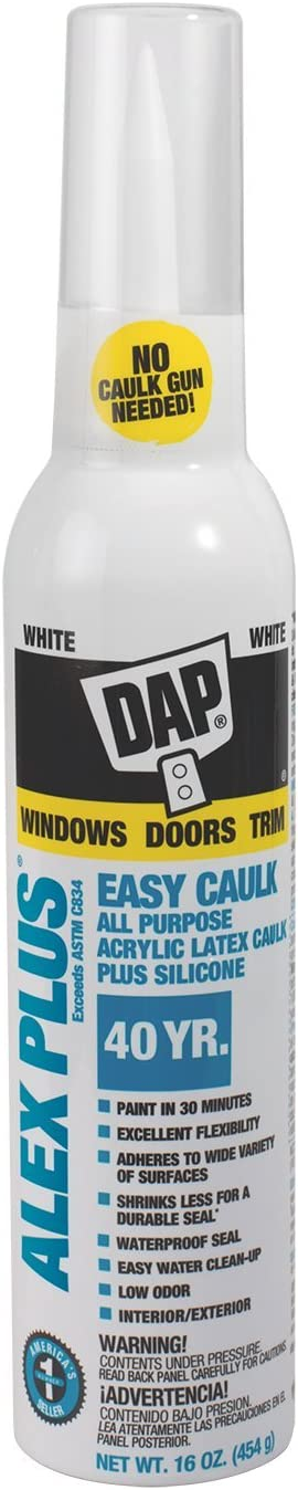 Dap 7079818736 White 18725 Alex Plus Easy Caulk 16-Ounce, 16 oz
