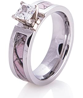 nana chic jewelry women 5mm pink titanium ring cubic zirconia camo engagement wedding bands polished finish - Camo Wedding Rings For Him